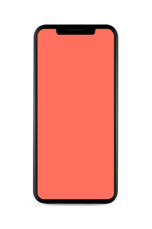 bezel-less smartphone with blank transparent screen, isolated on white background . Screen is cut out with path