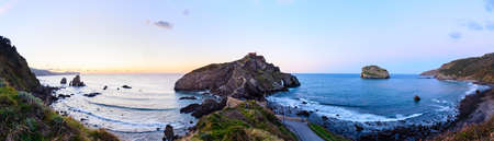 San Juan de Gaztelugatxe , its medieval stairs and bridge at sunset, Basque Country, Spain Stock Photo - 121171324