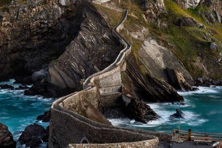 San Juan de Gaztelugatxe, its medieval stairs and bridge at sunrise, Basque Country, Spain Stock Photo - 121171326
