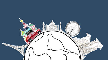 Around the world. Red retro toy car with travel cases driving by famous monuments on cartoon planet.