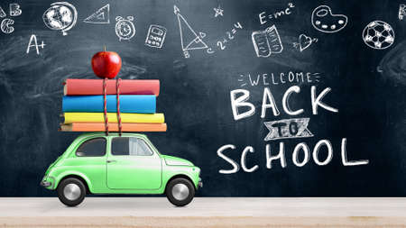 Back to school. Car delivering books and apple against school blackboard with education symbols.