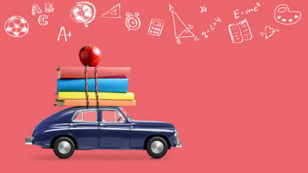 Back to school looped 4k animation. Car delivering books and apple against school blackboard with education symbols. Stok Fotoğraf