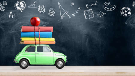 Back to school looped 4k animation. Car delivering books and apple against school blackboard with education symbols. Stock Photo