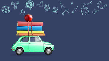 Back to school looped 4k animation. Car delivering books and apple against school blackboard with education symbols. Stock Photo - 124375401