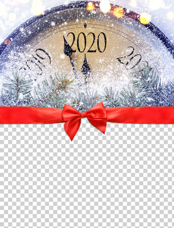 Countdown to midnight. Retro style clock is counting last moments before Christmas or New Year 2020 on blank transparent background, clipping path provided. View from above. 스톡 콘텐츠