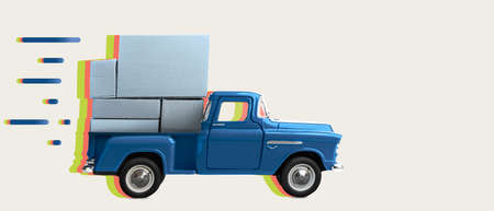 Fast order delivery. Car delivering blank boxes. Loaded retro toy pickup truck with trail behind