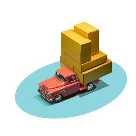 Fast order delivery by car concept. Pickup truck delivering blank boxes. Loaded retro toy car loaded with cardboard packages isolated on white background.