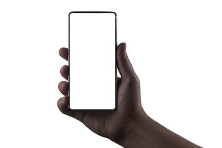 Phone in hand. Silhouette of male hand holding bezel-less smartphone on white background. Screen is cut with clipping path.