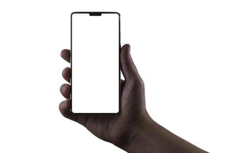 Phone in hand. Silhouette of male hand holding bezel-less smartphone with notch on white background. Screen is cut with clipping path.