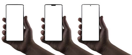 Hands holding phones. Silhouettes of male hands holding bezel-less smartphones on white background. Three types of phone screens, notchless, notch, hole punch