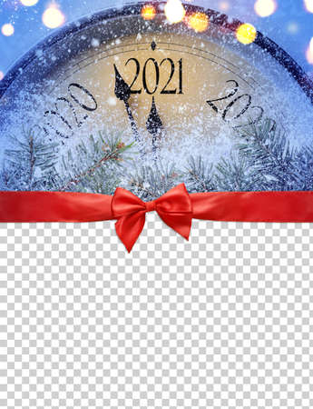Countdown to midnight. Retro style clock is counting last moments before Christmas or New Year 2020 on blank transparent background, clipping path provided. View from above.