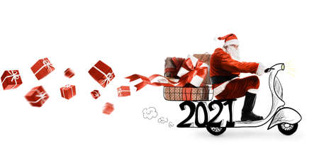 Santa Claus on scooter delivering Christmas or New Year 2021 gifts at orange background Imagens