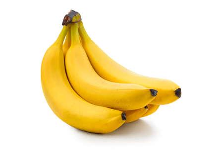Fresh banana isolated. Bunch of ripe organic bananas on white background. Foto de archivo