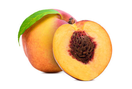 Fresh peach isolated. Organic nectarine or peach slice with leaf on white background. Stock fotó
