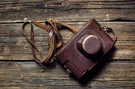 Retro camera in a leather case
