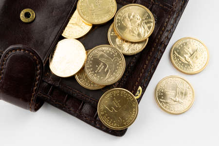 coins worth 1 dollar are poured out of a purse on a white background