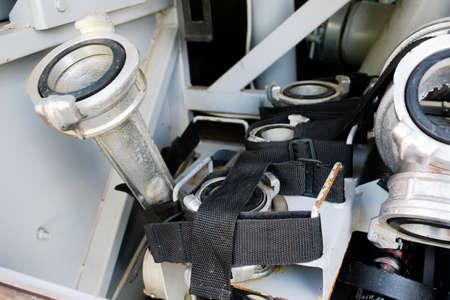 fire water collector and fire adapters located in the mountings in the fire vehicle compartment. Adapter device for fire service with running water.