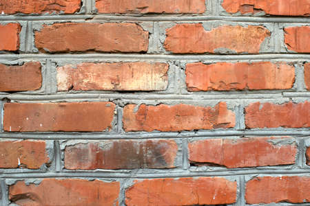 image of a section of an old red brick wall for a background or texture