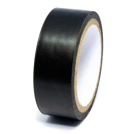 Roll of black plastic duct tape isolated on white background