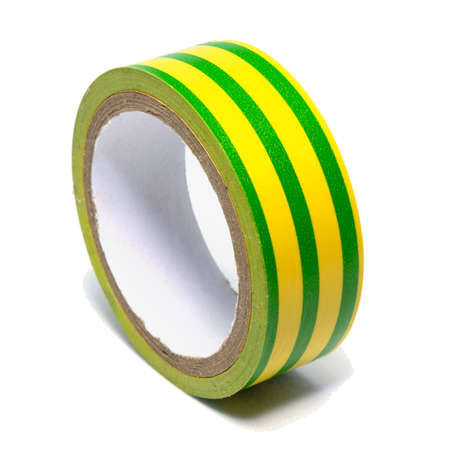 Roll of yellow-green striped plastic duct tape isolated on white background Stock Photo