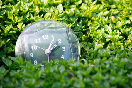 the transition to summer time, the arrival of spring, the clock on the background of bright green spring grass with a place for the inscription, a bright sunny day Stock Photo
