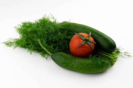 vegetables and greens on a white background close-up Reklamní fotografie