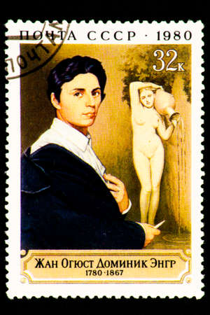 07.24.2019 Divnoe Stavropol Territory Russia postage stamp USSR 1980 Jean Auguste Dominique Zngr 1780-1867 portrait of the artist on the background of sculpture