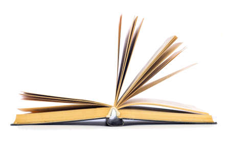 open book with yellowed sheets on a white background side view Stock fotó