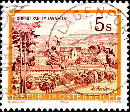 02.09.2020 Divnoe Stavropol Territory Russia postage stamp Austria 1985 Abbeys and Monasteries in Austria - 1984 Imprint Benedictine monastery St. Paul, Lavanttal landscape with a monastery