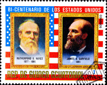 02 08 2020 Divnoe Stavropol Territory Russia postage stamp Equatorial Guinea 1975 The 200th Anniversary of the Independence of the USA - Presidents R. B. Hayes 1877-1881 and J. A. Garfield 1881 portraits of presidents against the backdrop of the US flag 報道画像