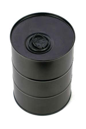 black iron barrel isolated on the white background