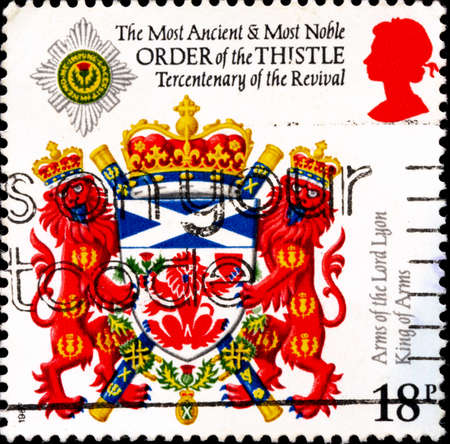 02.11.2020 Divnoe Stavropol Territory Russia postage stamp Great Britain 1987 The 300th Anniversary of the Revival of the Order of Thistle Lord Lyon Arms of the Lord Lyon King of Arms Editorial