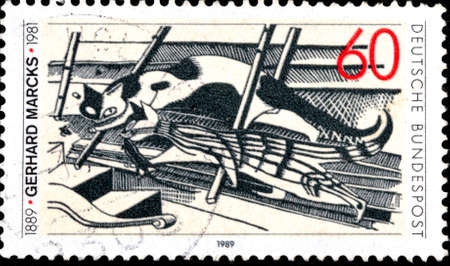 02 10 2020 Divnoe Stavropol Krai Russia postage stamp Germany 1989 The 100th Anniversary of the Birth of Gerhard Marck, Lithographic Artist and Sculptor Cats in the Attic woodcut by Gerhardt Marcks artist Éditoriale