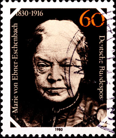 02 08 2020 Divnoe Stavropol Territory Russia Germany postage stamp 1980 The 150th Anniversary of the Birth of Marie von Ebner Eschenbach, Writer 1830-1916 portrait 免版税图像 - 150131298