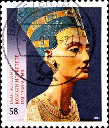 02.10.2020 Divnoe Stavropol Territory Russia Germany postage stamp 2013 Treasures of German Museums Queen Nefertiti, c.1340 BC Editorial