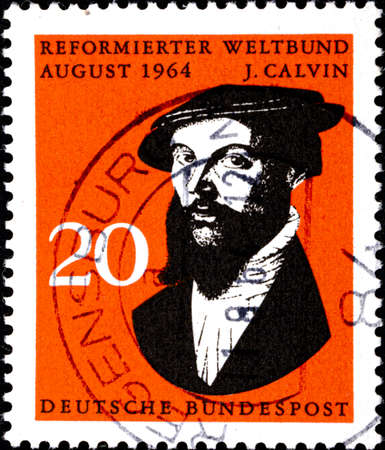 02 11 2020 Divnoe Stavropol Territory Russia postage stamp Germany 1964 World Council of Reformed Churches Johannes Calvin portrait