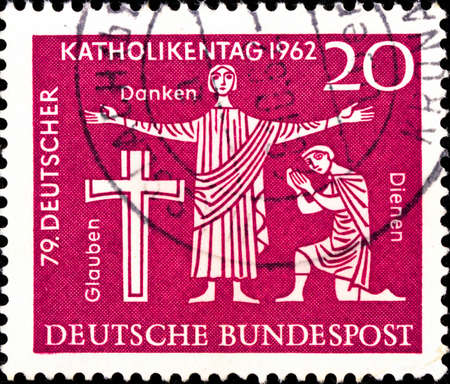 02 09 2020 Divnoe Stavropol Territory Russia postage stamp Germany 1962 The German Annual Day of Catholism Hannover ross and two faithful