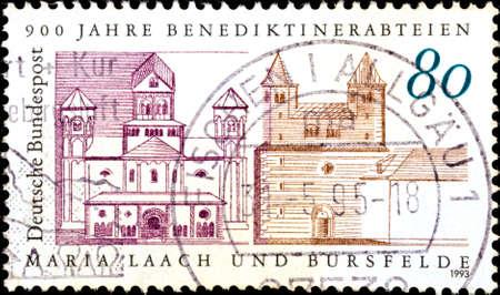 02 09 2020 Divnoe Stavropol Territory Russia postage stamp Germany 1993 The 900th Anniversary of the Benedictine Monasteries Maria Laach and Bursfelde Abbeys Maria Laach and Bursfelde medieval buildings