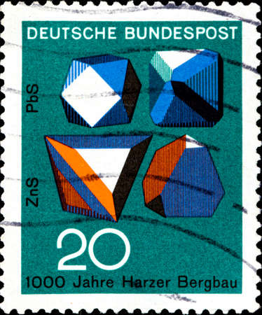 02 11 2020 Divnoe Stavropol Territory Russia postage stamp Germany 1968 Technic and Science 1000 years of the Mining industry Lead and zinc minerals Editorial