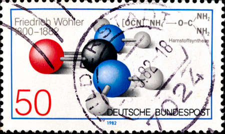 02 11 2020 Divnoe Stavropol Territory Russia German postage stamp 1982 The 100th Anniversary of the Death of Friedrich Wohler 1800-1882 , Chemist Atomic Model of Urea