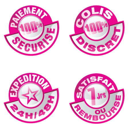 pink icons set   expedition 7 24, payment, satisfaction Stock Vector - 15731679