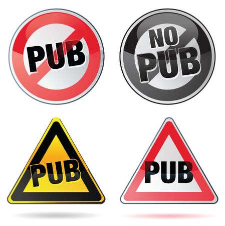 bouton pub - no pub Illusztráció
