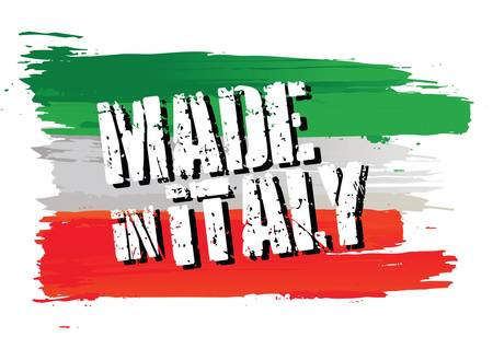 flagge auf land italien: flag made in italy Illustration