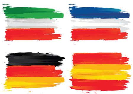 banderas francés, Italia, Alemania, España Ilustración de vector