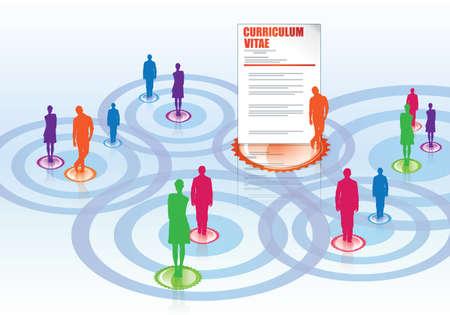 reanudar - Situación de la empresa, entrevista y las redes sociales Ilustración de vector