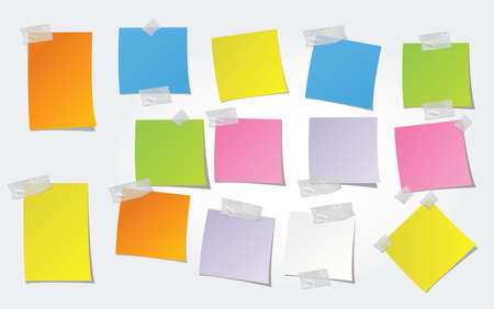 speech marks: post-it, post it with adhesif paper Illustration