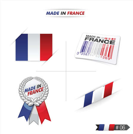 french flag, stamp    product, made in france Stock Vector - 17253908