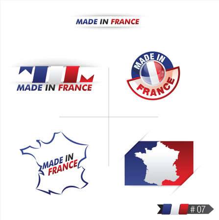 french cuisine: french flag, stamp    product, made in france