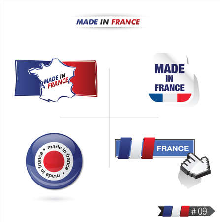 regional product: french flag, stamp    product, made in france