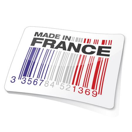 french symbol: gencode, french flag    product, made in france